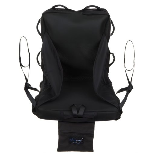 Image is a photograph of the front view of the easyTravelseat illustrating the manual handles and hoist loops