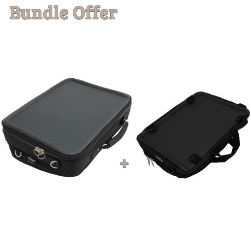 """Image is a composite of two photographs, of the Trabasack Max and Trabasack Mini. Text reads """"Bundle offer - Trabasack Max and Trabasack Mini"""""""
